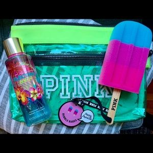 Victoria's Secret Pink Bikini Bag, Spray & Sponge